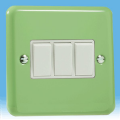 Varilight Pastel 3 Gang 10A 1 or 2 way Rocker Light Switch Beyrl Green XY3W.BG